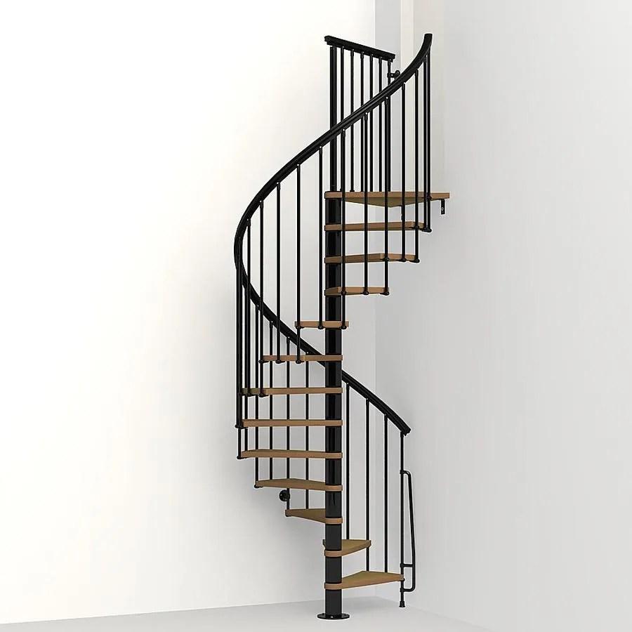 Arke Nice1 51 In X 10 Ft Black Spiral Staircase Kit In The | 6 Foot Spiral Staircase | Tread Depth | Stair Kit | Metal | Building Code | Hayden Gray