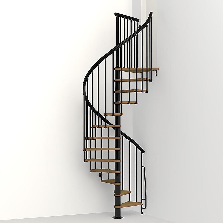 Arke Nice1 51 In X 10 Ft Black Spiral Staircase Kit In The   5 Foot Spiral Staircase   Metal   Hayden Gray   Reroute Galvanized   Steel   Handrail