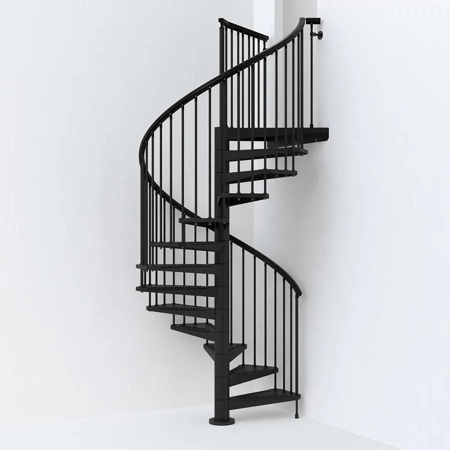 Arke Sky030 63 In X 10 Ft Black Spiral Staircase Kit In The   8 Foot Spiral Staircase   Stair Railing   Winding Staircase   Stair Parts   Wood   Modern Staircase