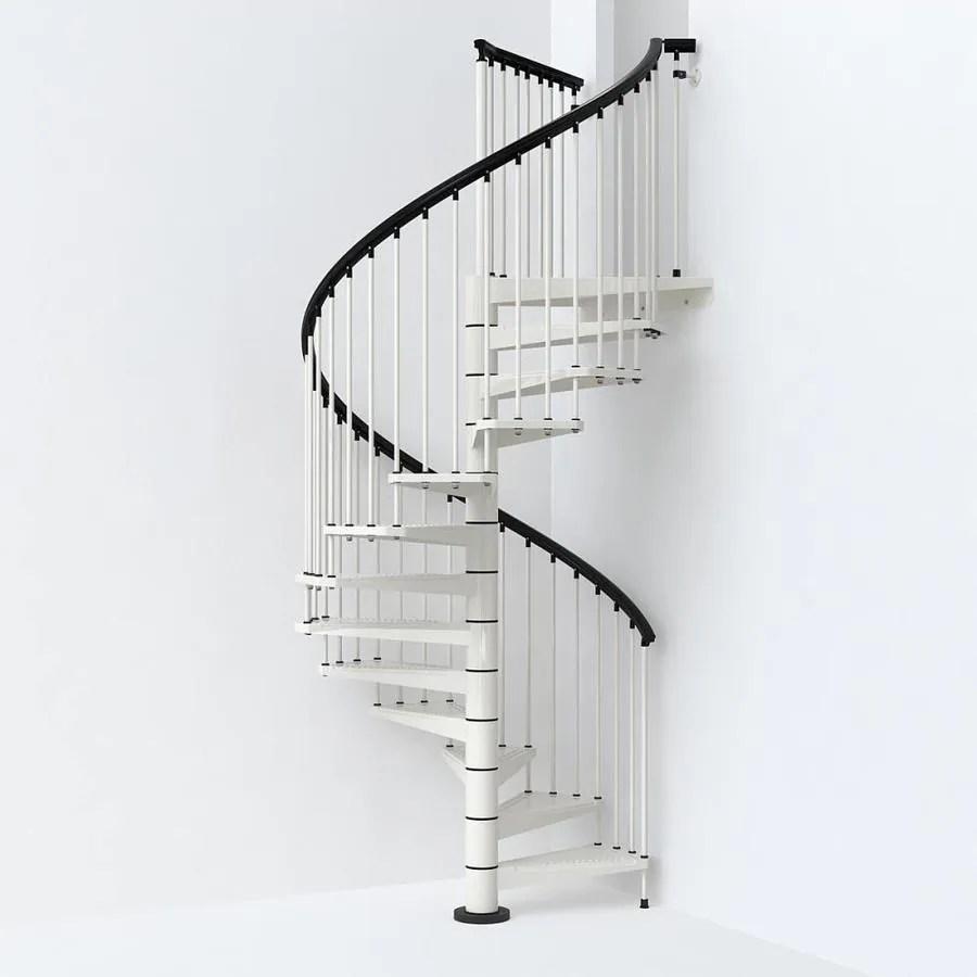 Arke Sky030 63 In X 10 Ft White Spiral Staircase Kit In The | 10 Ft Spiral Staircase | Handrail | 36 Tall | Arke Phoenix | Stair Kit | Arke Enduro