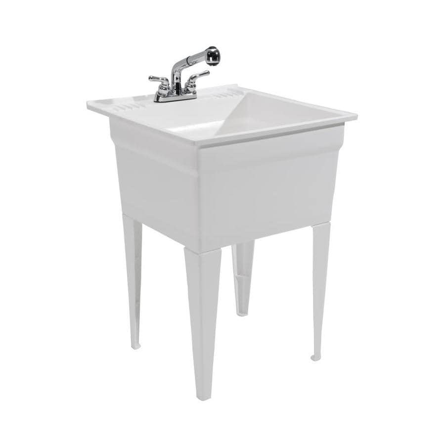 cashel 23 75 in x 24 75 in 1 basin white freestanding laundry sink with drain and faucet