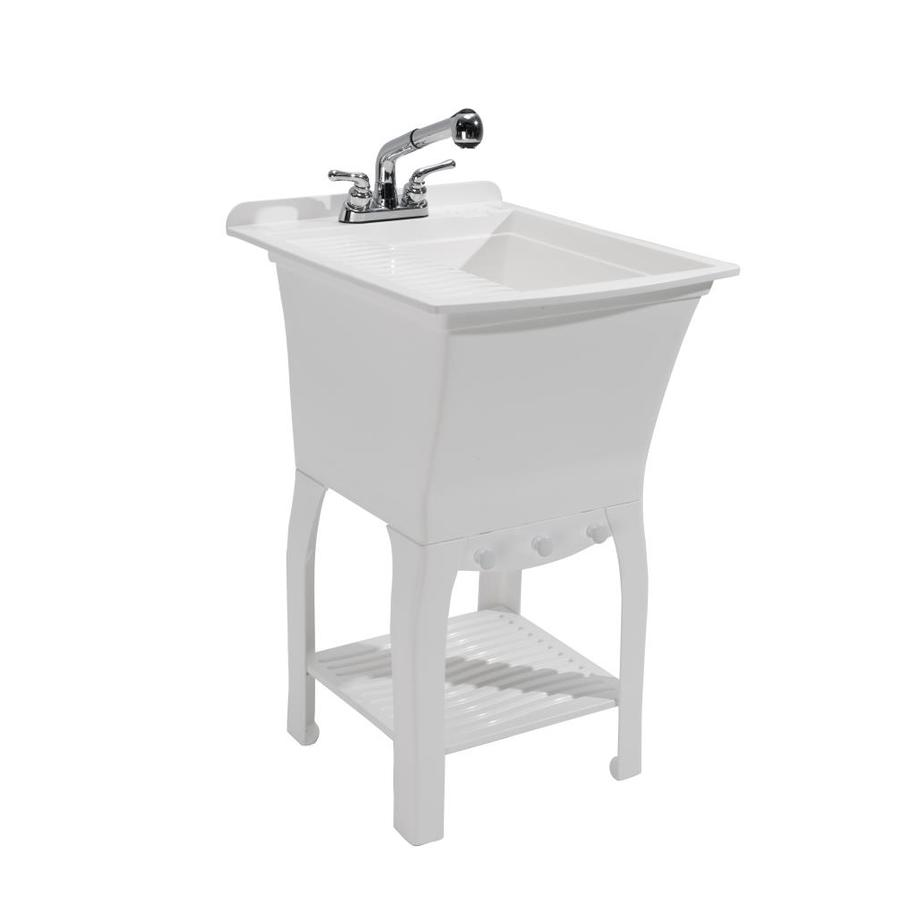 cashel 20 5 in x 25 75 in 1 basin white freestanding laundry sink with drain and faucet