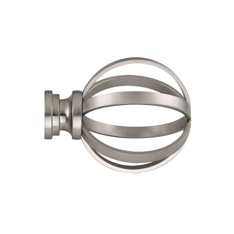 allen roth 2 pack brushed nickel steel curtain rod finials lowes com