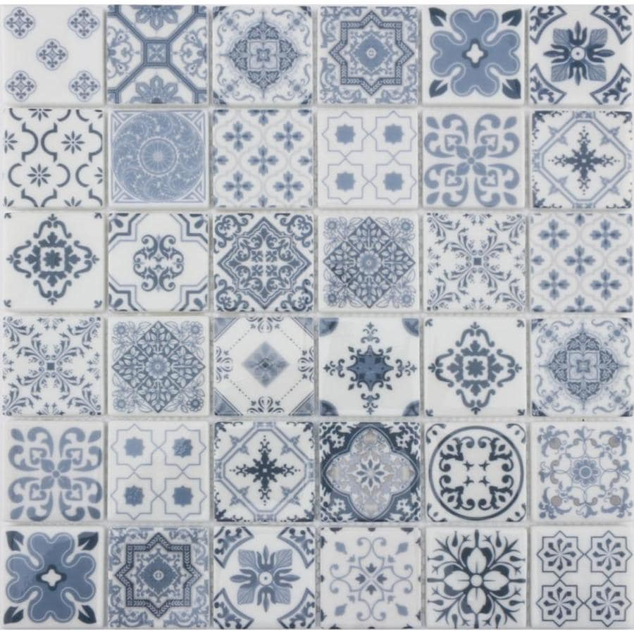 blue 12 in x 12 in glossy glass uniform squares wall tile lowes com