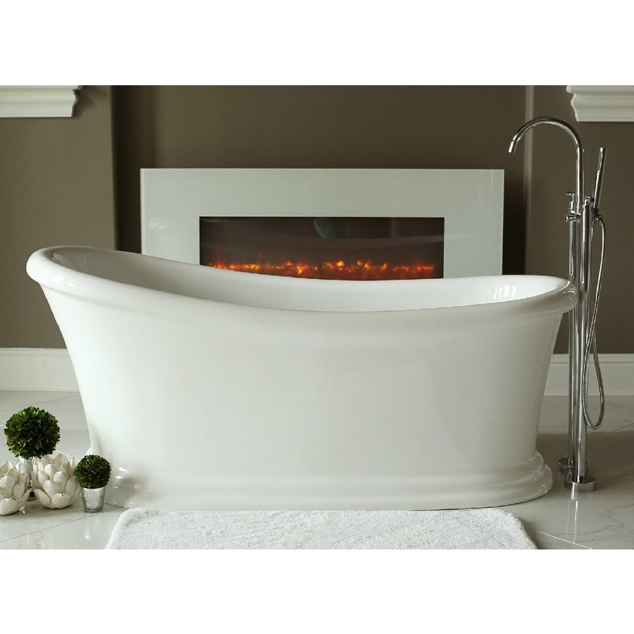 home and garden freestyle 28 5 in w x 67 5 in l white acrylic oval reversible drain freestanding soaking bathtub