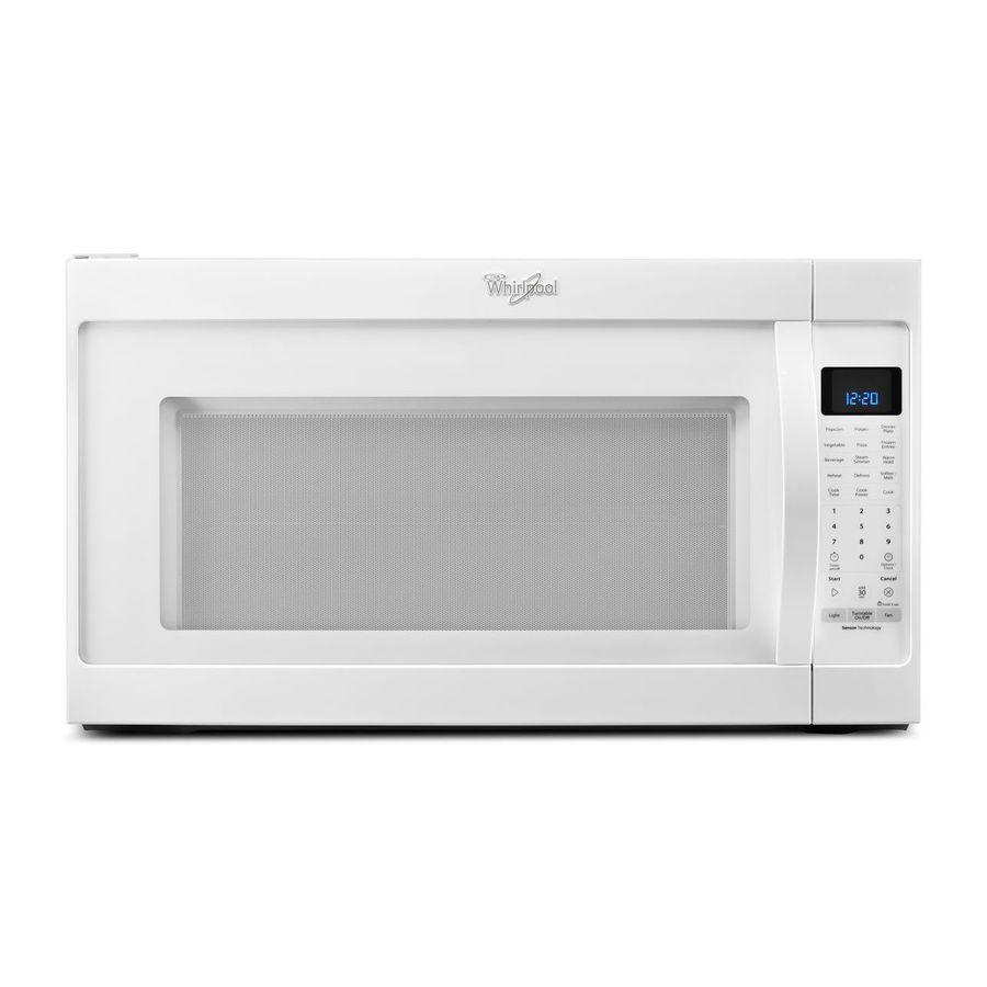 whirlpool 2 cu ft over the range microwave with sensor cooking controls white common 30 in actual 29 875 in