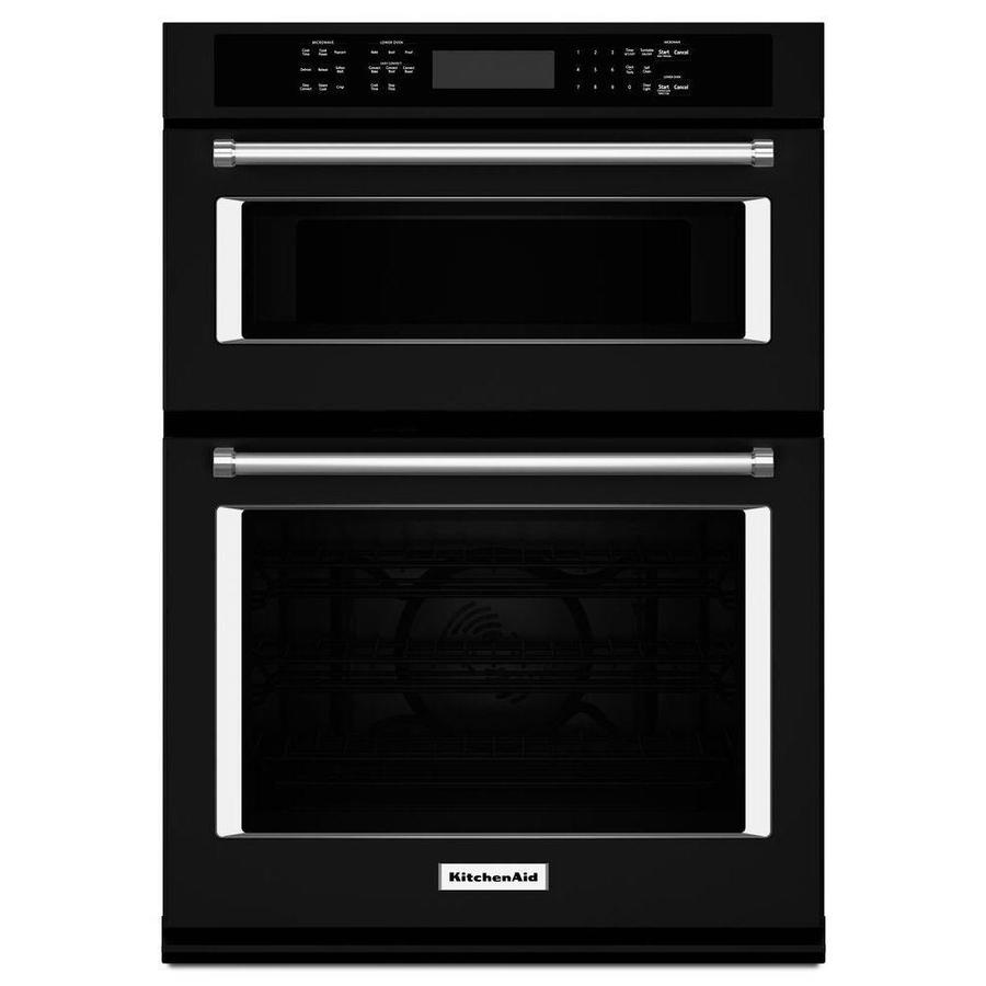 kitchenaid 30 in self cleaning convection microwave wall oven combo black