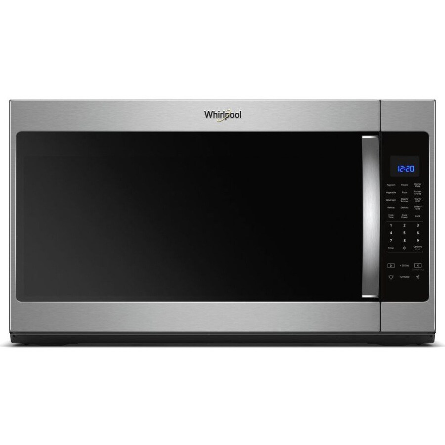 whirlpool 2 1 cu ft over the range microwave with sensor cooking fingerprint resistant stainless lowes com