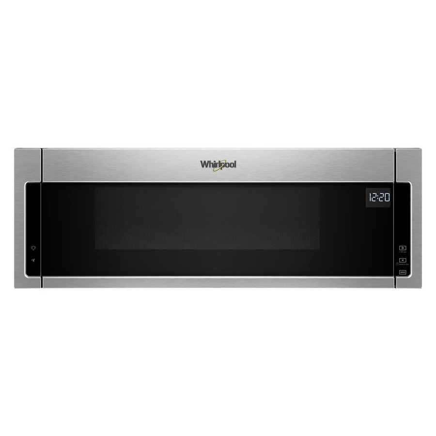 whirlpool low profile microwave hood combination 1 1 cu ft over the range microwave stainless steel lowes com