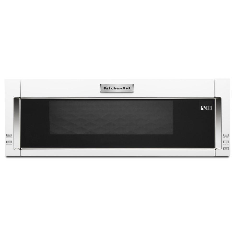 kitchenaid low profile microwave hood combination 1 1 cu ft over the range microwave with sensor cooking white lowes com