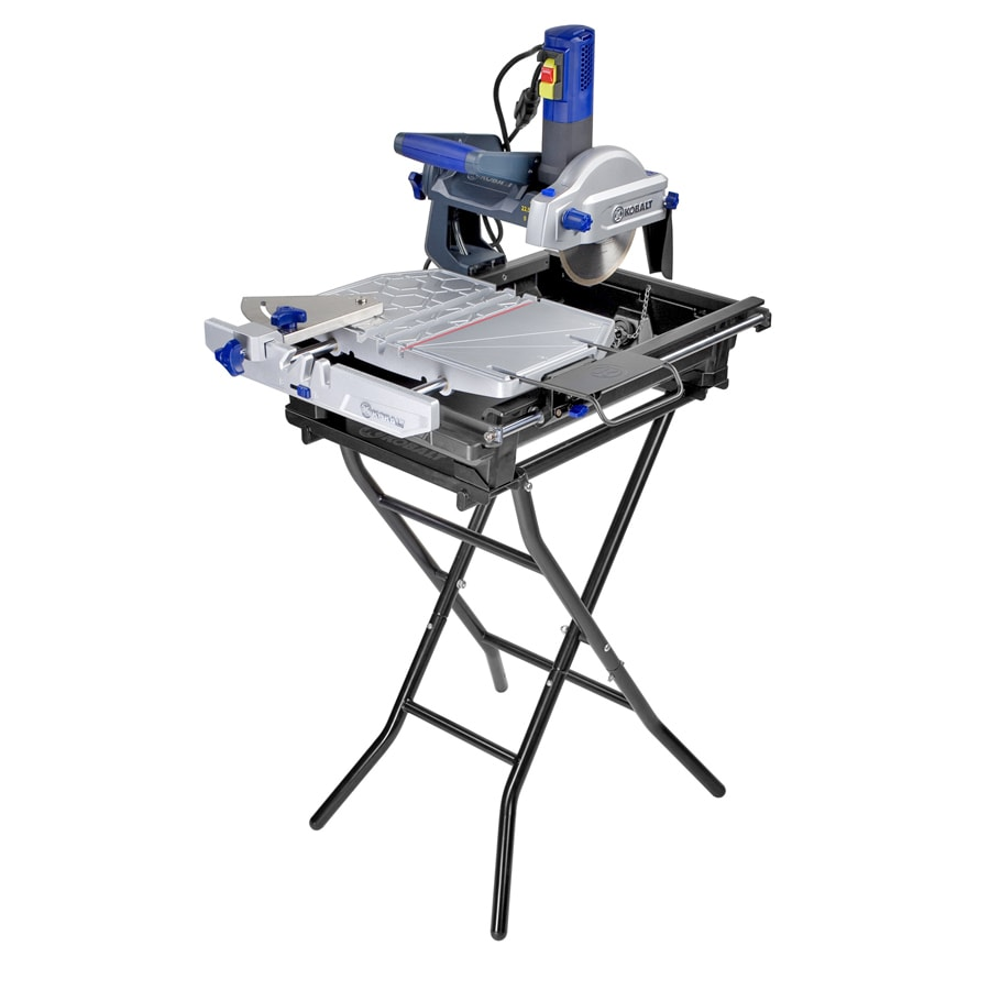 kobalt 7 in 9 amp table top sliding table tile saw with stand lowes com