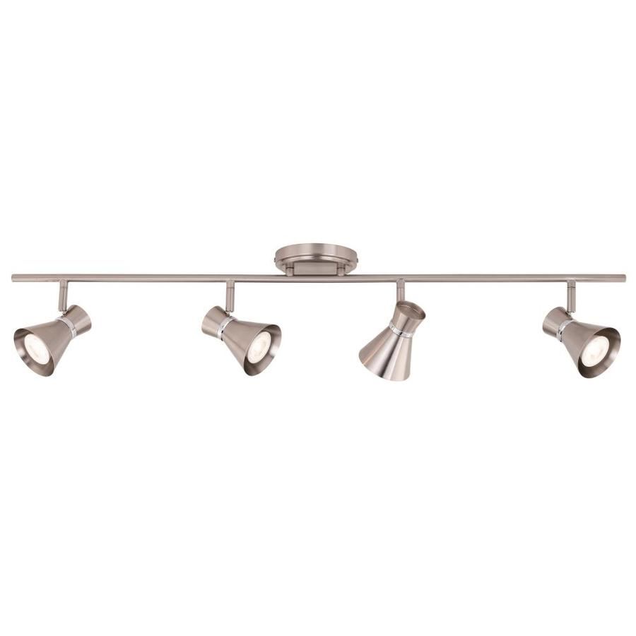 cascadia alto 4 light 36 in brushed nickel with chrome dimmable standard track bar fixed track light kit lowes com