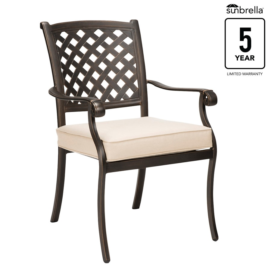 allen roth queensbury set of 4 stackable antique metal frame stationary dining chair s with spectrum sand sunbrella slat seat