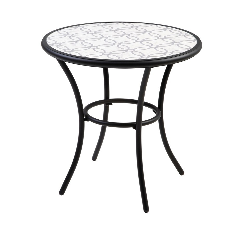 style selections pelham bay round outdoor bistro table 28 in w x 28 in l with lowes com