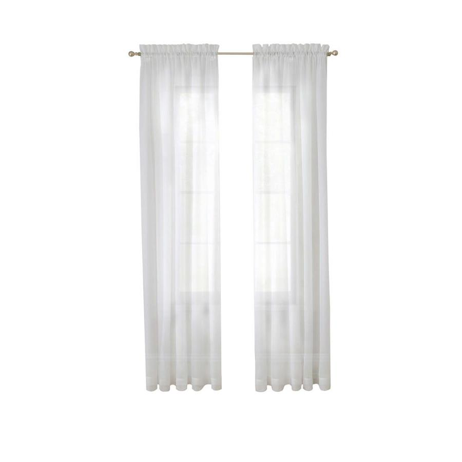 pairs to go 95 in white polyester sheer rod pocket curtain panel pair