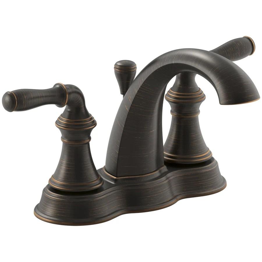kohler devonshire oil rubbed bronze 2 handle 4 in centerset watersense bathroom sink faucet with drain