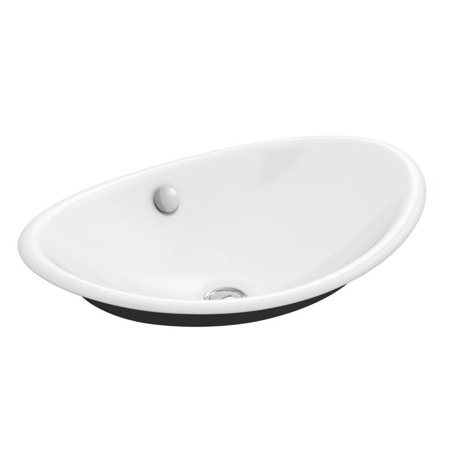 kohler iron plains white cast iron vessel oval bathroom sink with overflow drain 20 75 in x 14 25 in