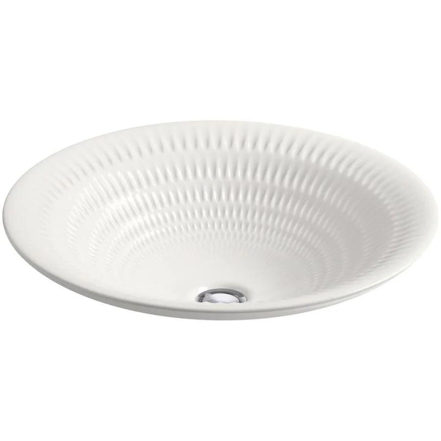 kohler artist editions derring translucent white vessel round bathroom sink 17 6875 in x 17 6875 in