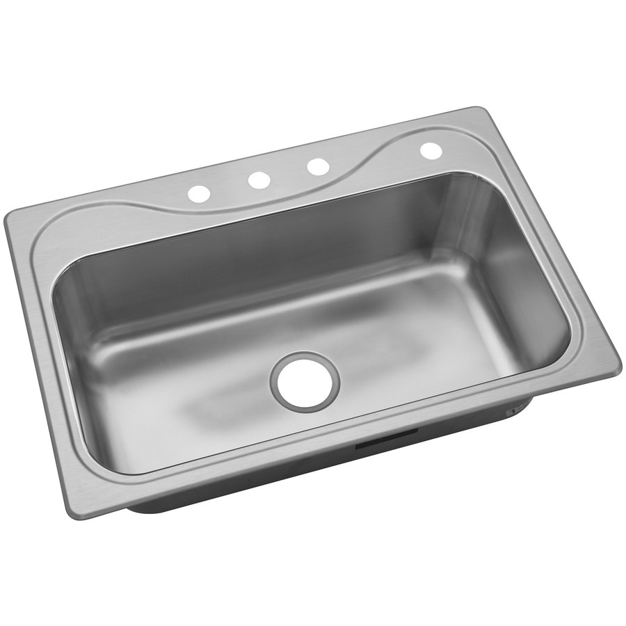 sterling southhaven drop in 22 in x 33 in single bowl 4 hole kitchen sink lowes com