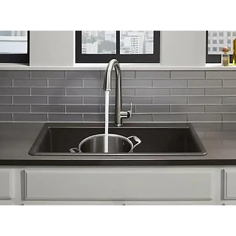 kohler neoroc dual mount 22 in x 33 in matte black single bowl 2 hole kitchen sink all in one kit