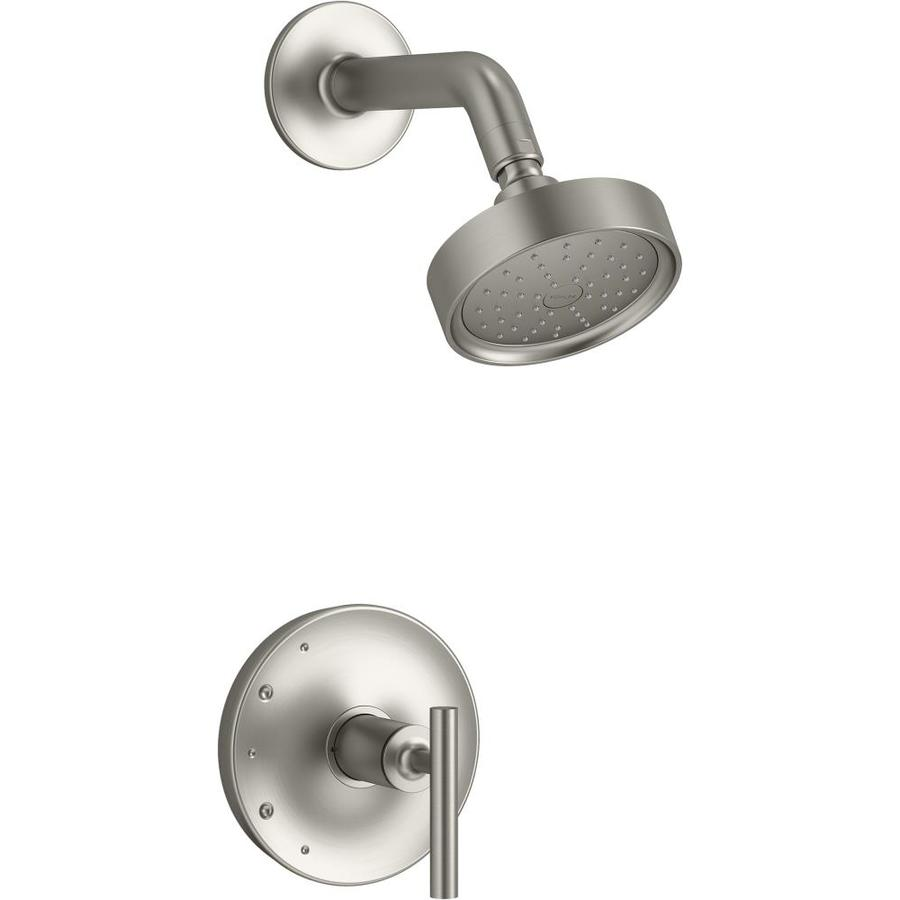 kohler purist vibrant brushed nickel 1 handle shower faucet in the shower faucets department at lowes com