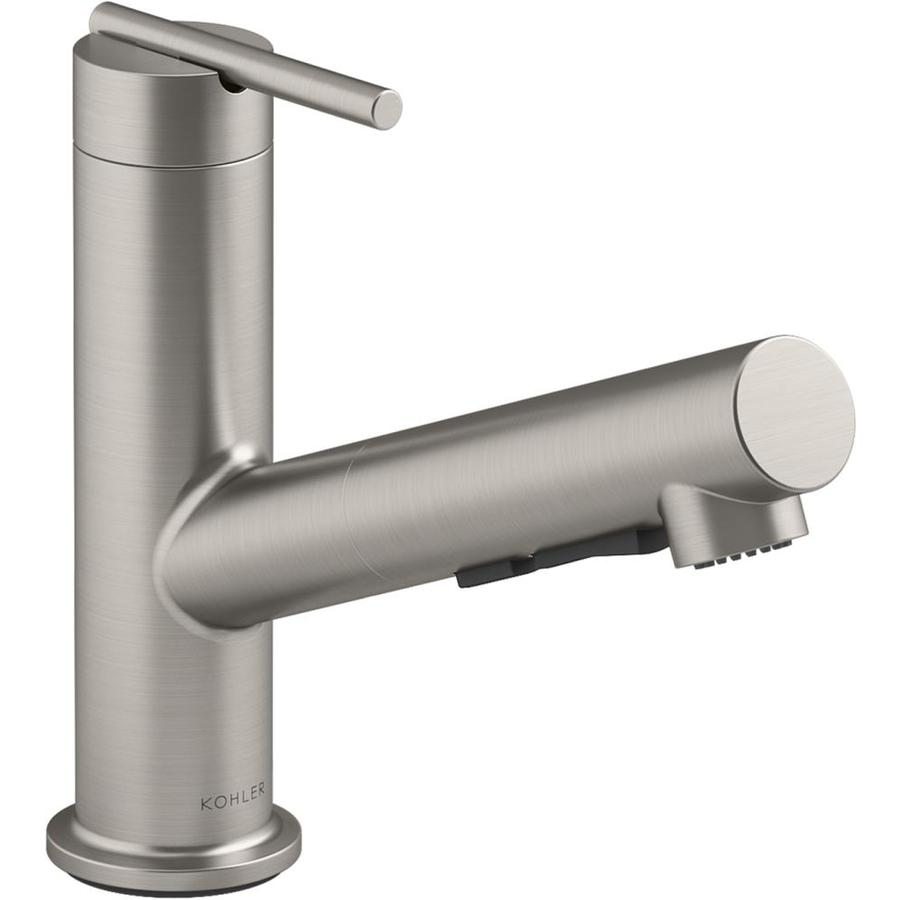 kohler crue vibrant stainless 1 handle deck mount pull out handle kitchen faucet deck plate included