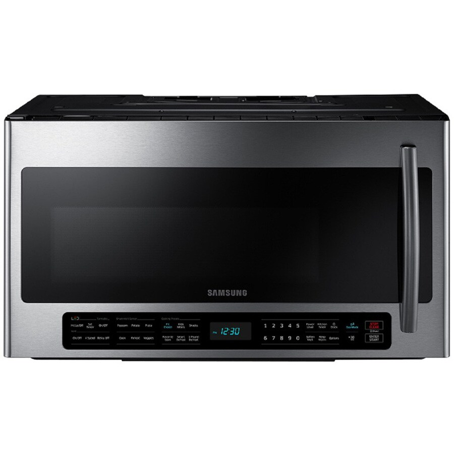 samsung 2 1 cu ft over the range microwave with sensor cooking controls stainless steel common 30 in actual 29 875 in