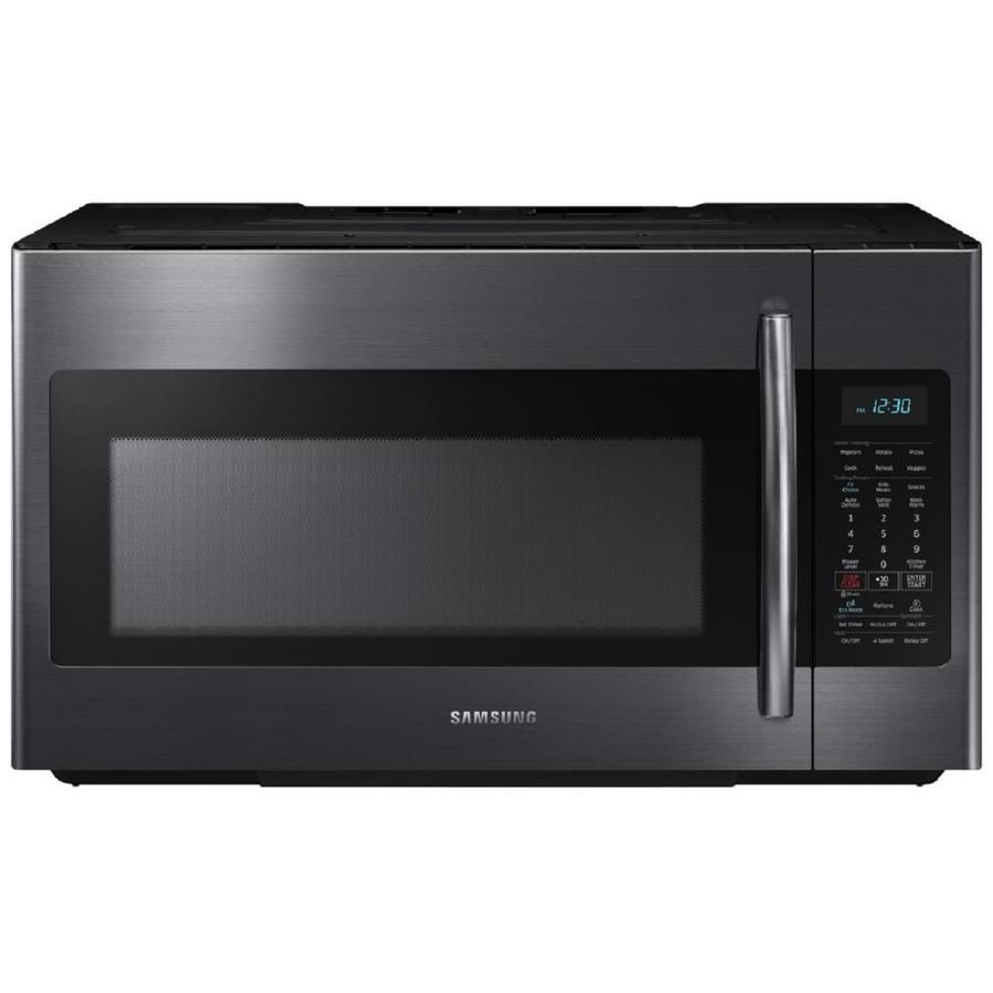 samsung 1 8 cu ft over the range microwave with sensor cooking fingerprint resistant black stainless steel