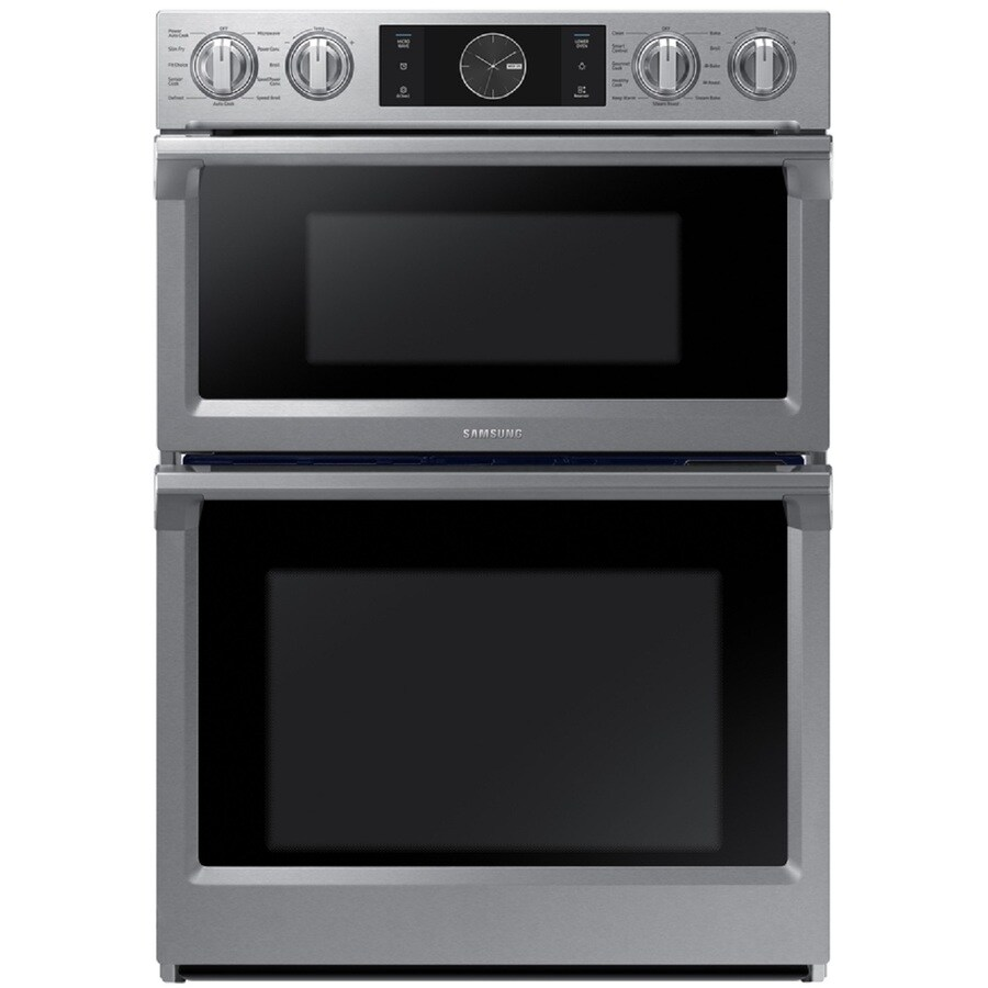 samsung 30 in self cleaning convection european element microwave wall oven combo stainless steel