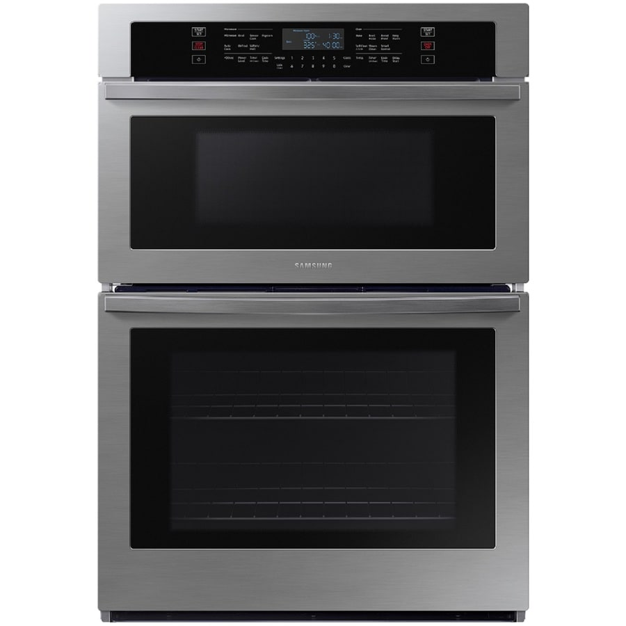 samsung 30 in self cleaning microwave wall oven combo stainless steel