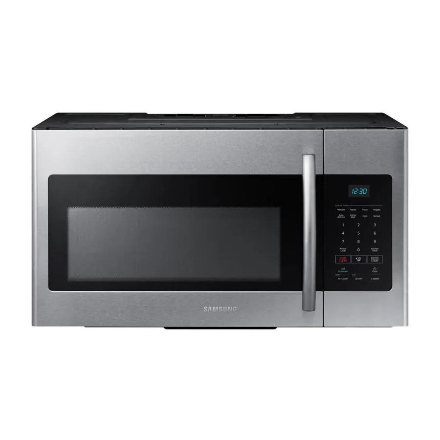 samsung 1 6 cu ft over the range microwave fingerprint resistant stainless steel