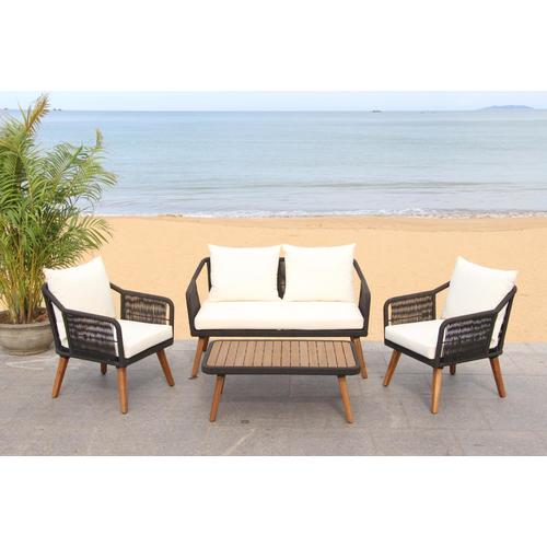 Safavieh Raldin 4-Piece Wood Frame Patio Conversation Set ... on Safavieh Raldin  id=49294