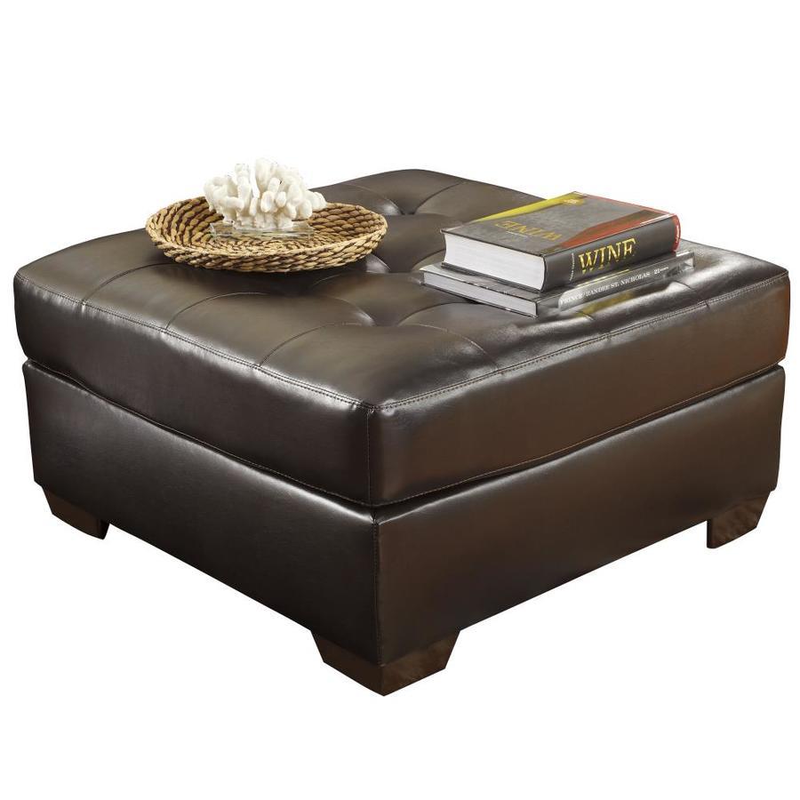 flash furniture alliston modern chocolate faux leather ottoman