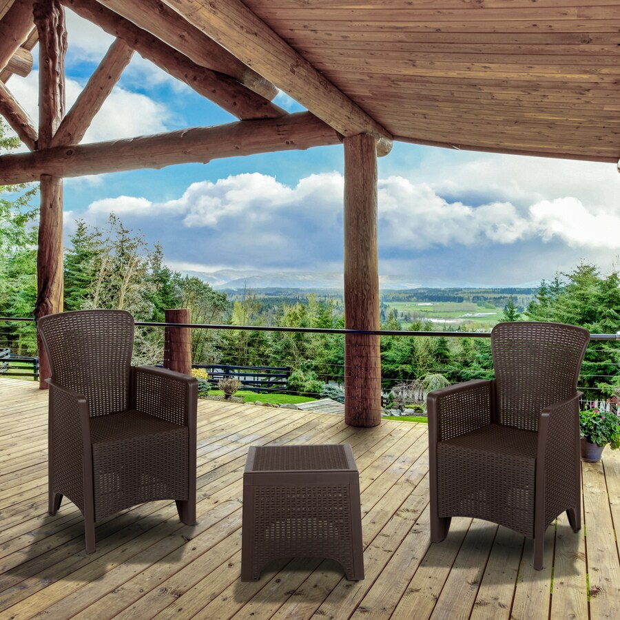 flash furniture 3 piece resin frame patio conversation set with lowes com