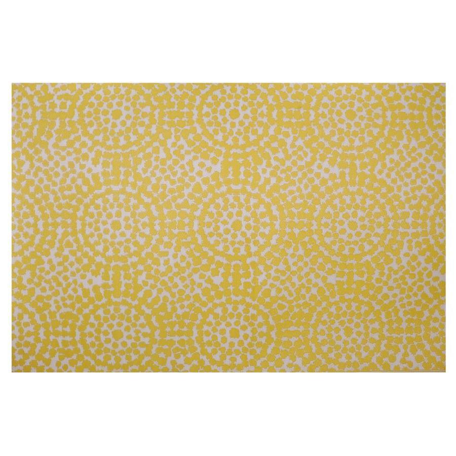 garden treasures 6 x 9 yellow white indoor outdoor abstract area rug