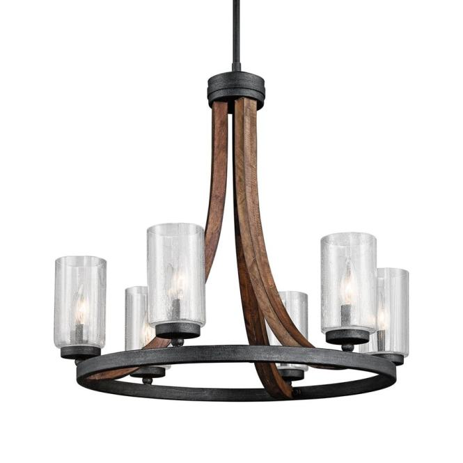 Kichler Grand Bank 25 In 6 Light Auburn Stained Wood With Distressed Black Rustic