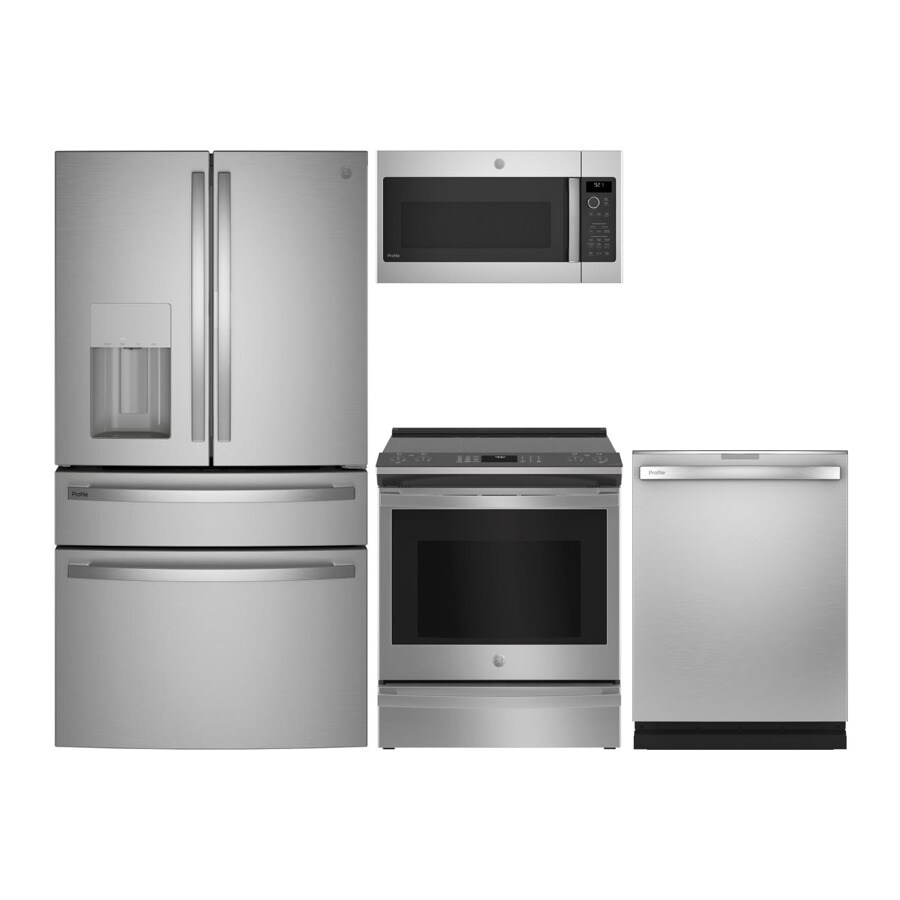 https www lowes com collections ge side by side refrigerator electric range suite in fingerprint resistant stainless steel gr 300