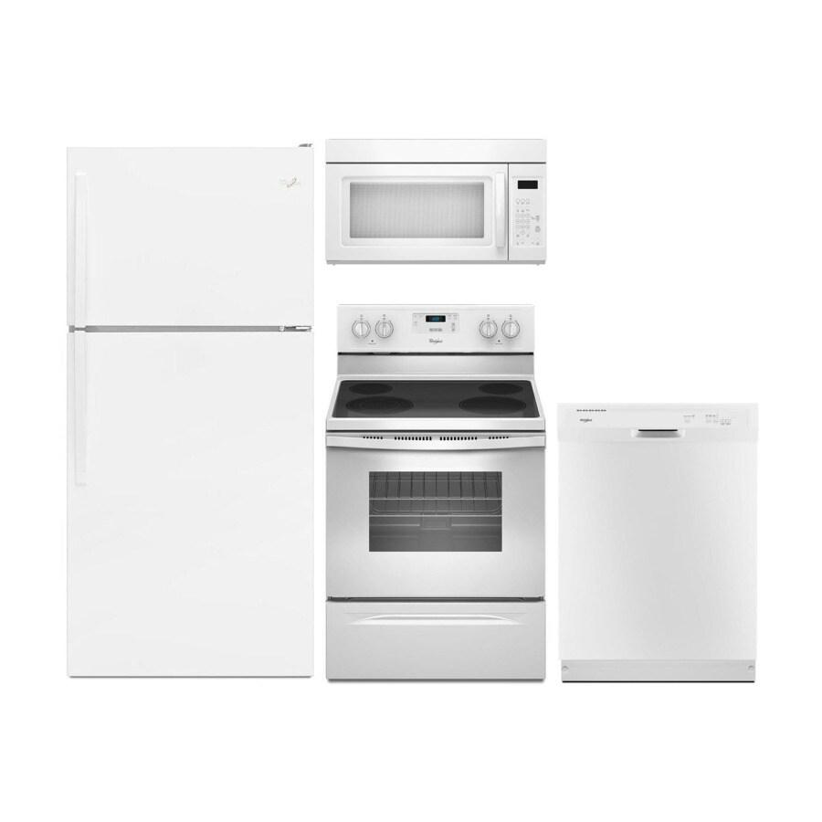 whirlpool top freezer refrigerator electric range suite in white