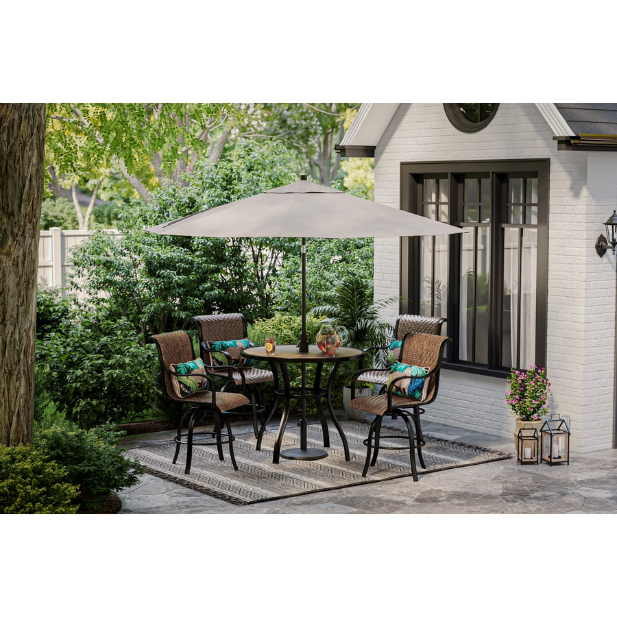 allen roth copper pointe 5 piece patio dining set with swivel chairs