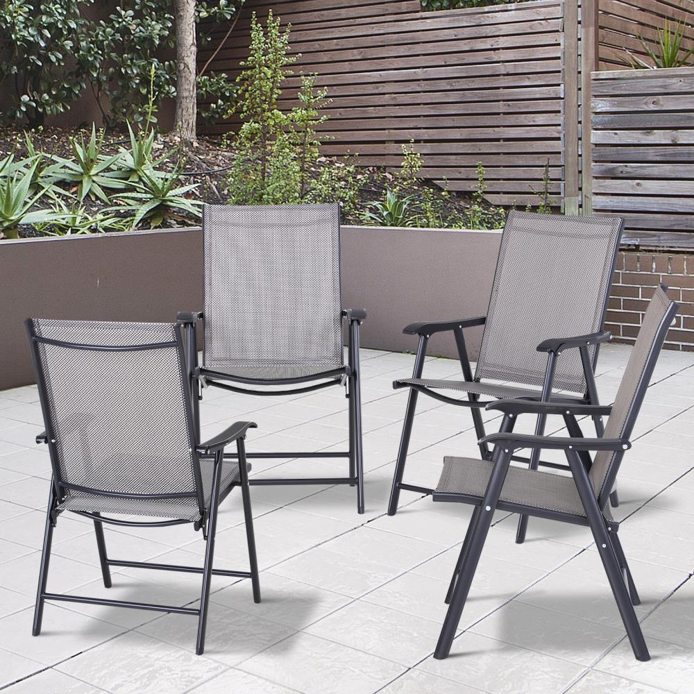 outsunny outsunny folding outdoor patio chairs set of 4 stackable portable for deck garden camping and travel at lowes com