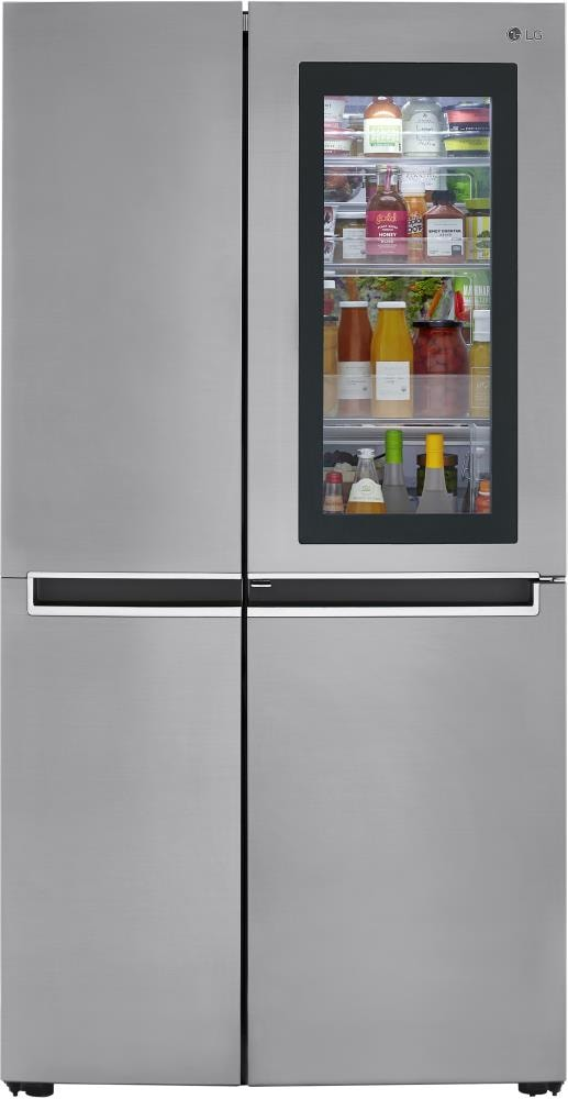 Lg Instaview 26 8 Cu Ft Side By Side Refrigerator With Ice Maker Platinum Silver In The Side By Side Refrigerators Department At Lowes Com