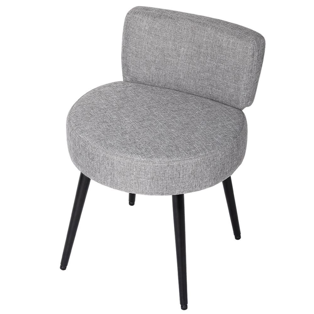 Birdrock Home Birdrock Home Grey Linen Chair With Back 8211 Soft Compact Round Padded Seat Living Room Bedroom And Kids Room Chair 8211 Ottoman Foot Stool Black Metal Legs Upholstered