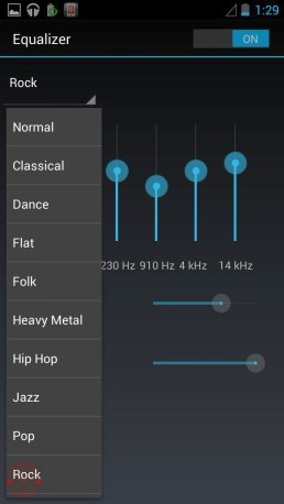 Music Player Equaliser Options