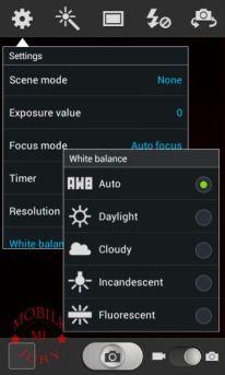 Samsung Galaxy Grand Quattro White balance options