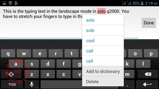 Typing in landscape mode_Xolo Q2000
