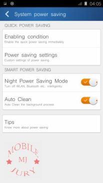 Power saver settings