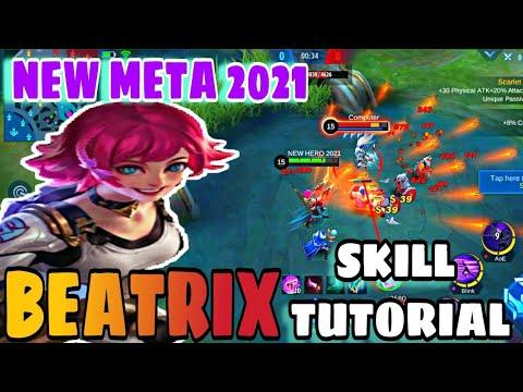 BEATRIX TUTORIAL AND COMBO SKILL | NEW HERO 2021| Mobile legend bang bang