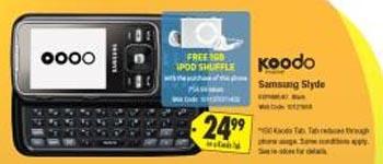 bestbuy Buy a Samsung Slyde from Koodo, Get a Free iPod Shuffle