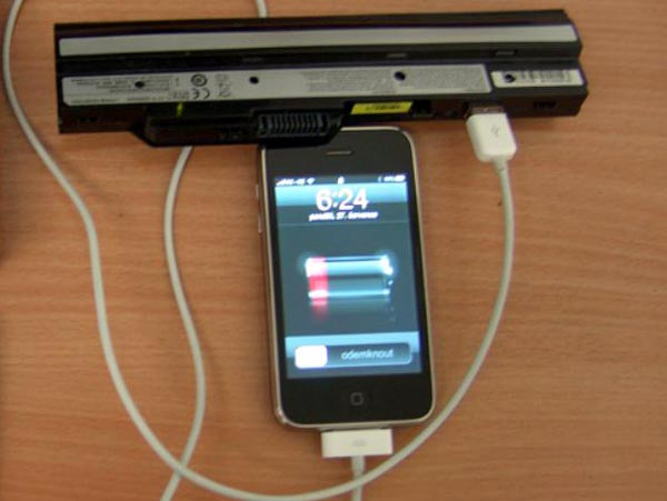 netbookiphone Charge Your iPhone Direct from Laptop Battery