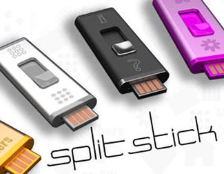 splitstick  Quirky Split Stick: Two USB Flash Drives in One